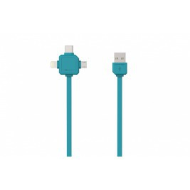 PowerCube USBcable USB-C CABLE, Blue, multi-vidlice (MicroUSB, Apple Lithning, USB-C), kabel  1,5m