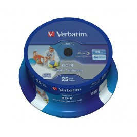 VERBATIM BD-R SL(25-Pack)Spindl/6x/25GB/Printable