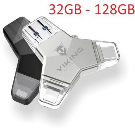 VIKING USB FLASH DISK 3.0 4v1 128GB, S KONCOVKOU APPLE LIGHTNING, USB-C, MICRO USB, USB3.0, černá
