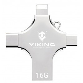 VIKING USB FLASH DISK 16G, 4v1 S KONCOVKOU APPLE LIGHTNING, USB-C, MICRO USB, USB-A